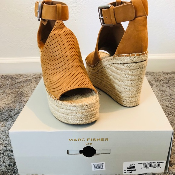 ffd5d90f5b Marc Fisher Shoes | Natural Suede Wedge Sandal Sz 85 | Poshmark